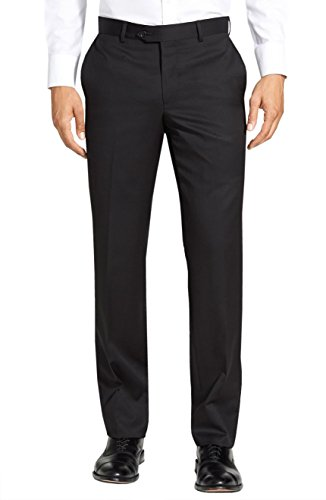 Gino Valentino Black Label Premium Wool Silk Flat Front Mens Dress Pants (33W - Unhemmed, (Premium Wool Trousers)
