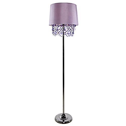 Poetic Wanderlust by Tracy Porter Alisal Satin Shade and Dark Silver Base Floor Lamp with Cascading Crystals - Purple