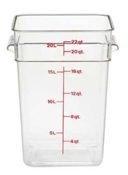 Cambro 22SFSCW135 CamSquare Food Container with handles 22 qt. clear - Case of by Cambro