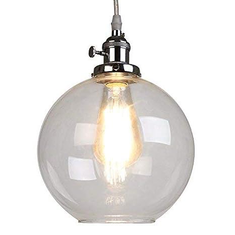 Glighone Lámpara Colgante Vintage 40W Lámpara de Techo Luz de Comedor Interior Casquillo E27 No Incluye Bombilla para Decoración de Hogar, Color Cromo