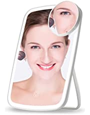 LED Makeup Mirror, TouchScreenVanityMirrorwithLight,USB Rechargeable 3 Color Lighting Modes, AdjustableLightBrightness, dimmable Brightness Illuminated Mirror with 10XMagnifying