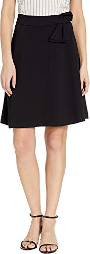 CeCe Women's Moss Crepe A-Line Skirt w/Bow Rich Black 4