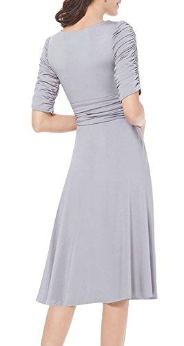4 Manga Retro Elegante Mujer Fiesta Cóctel Casual 3 Vestido DELEY Gris Dress V Cuello 40qZ8Uw
