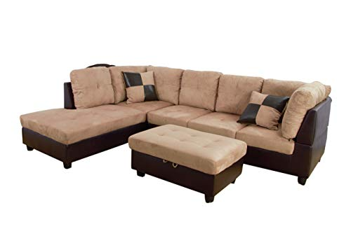 - Home Garden Collections 3 Piece Microfiber/Faux Leather Contemporary Left-Facing Sectional Sofa Set with Ottoman, 2 Accent Pillows, Camel Beige Product SKU: HF3013LS3