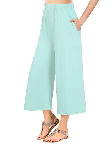- GlorySunshine Women's Elastic Waist Solid Palazzo Casual Wide Leg Pants with Pockets (3XL, Aqua)