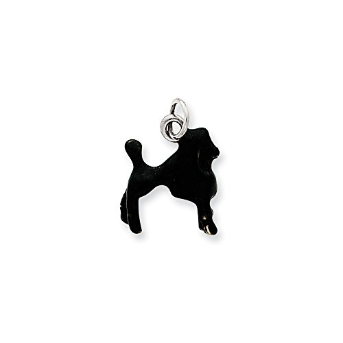Sterling Silver Enameled Black Poodle (Black Poodle Charm)