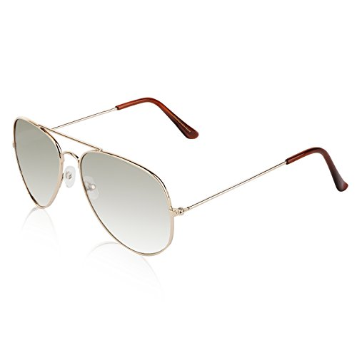 Aviator Glasses Big Metal Frame Gradient Colored Light Clear Grey Silver Lens ()
