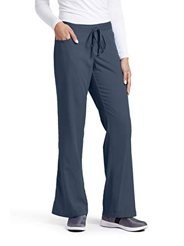 (Grey's Anatomy Women's Plus-Size Elastic Back 5 Pocket Drawstring Scrub Pant, Steel,)