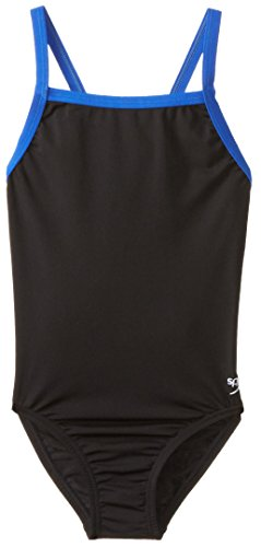 Speedo Big Girls' Youth Flyback Endurance+ Training One Piece Swimsuit, Black/Blue, - Pbt Material Swimsuit