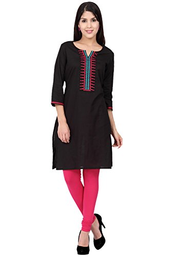 Ethnicity Women's Indian Fine Embroidered Classic Kurta Tunic; XL; Black by In-Sattva
