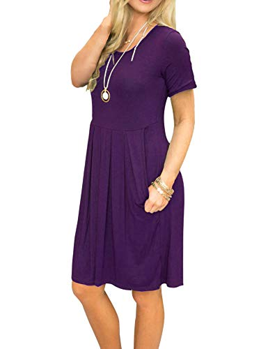 L'été Des Femmes Uniboutique Manches Courtes Col Rond Robe Décontractée De Plage En Coton Plissé Violet-1