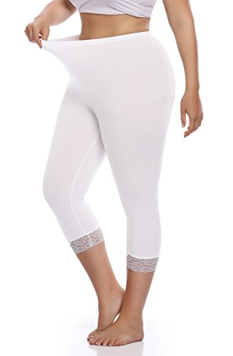 Raddzo Women's Plus Size Cotton Capri Cropped Leggings Lace Trim Soft Tights Pants, White, - Tights Cotton Cropped