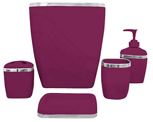 - Carnation Home Fashions 5-Piece Plastic Bath Accessory Set, Burgundy