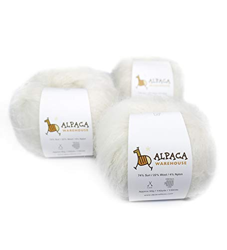 Superfine Suri Alpaca Yarn Wool Set of 3 Skeins Sport Weight (Ivory)