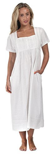 - The 1 for U 100% Cotton Short Sleeve Nightgown with Pockets - Lara (XL) White