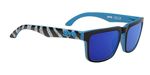 Spy Optic Unisex Helm Happy Lens Collection Eyewear, Ken Block Livery Matte Black/Bronze w/ Dark Blue Spectra, One Size Fits - Spy Helm Sunglasses