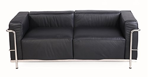 Emorden Furniture Modern Style Grande Loveseat Sofa(Multi Colors&Size Available), Black Premium Aniline - Style Le Grande Corbusier