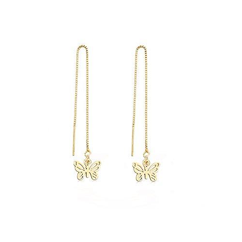 (MANZHEN Rose Gold Butterfly Threader Dangle Drop Earrings for Girls)