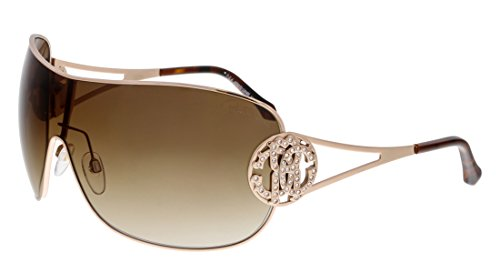 Roberto Cavalli Women's Menkar 891S 891/S 28F Light Gold Shield - Women Shield S Sunglasses