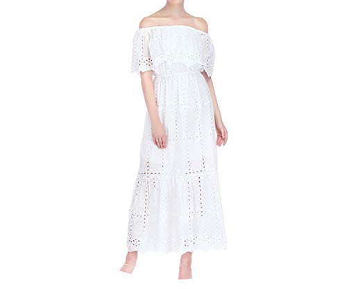 der Sleeve Maxi Dress Eyelet Cotton Summer Hollow Out,White,M ()