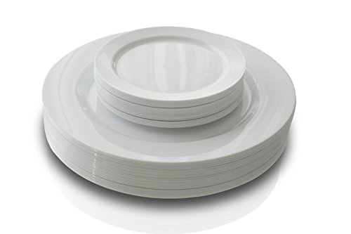 """OCCASIONS"" 50 Pack, Premium Disposable Plastic plates (25 x 10.5'' Dinner + 25 x 6'' Cake plates) Plain White"