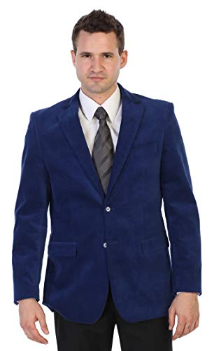 Gioberti Mens Velvet Blazer Jacket, Royal Blue, 42 Short