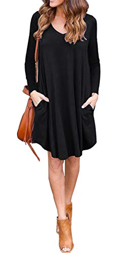 GRECERELLE Women's Long Sleeve Loose Plain Dresses Casual Dresses with Pockets