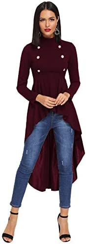 Floerns Women's Double Button Long Sleeve Round Neck Asymmetrical Blouse Tops
