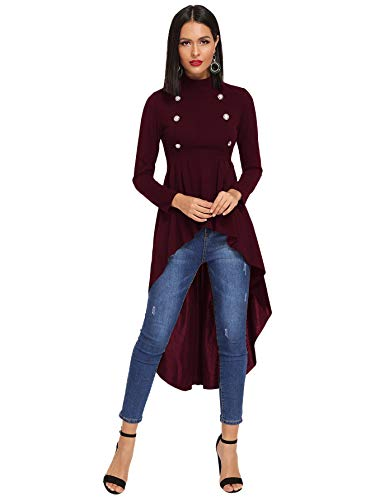 Floerns Women's Double Button Long Sleeve Round Neck High Low Blouse Tops Burgundy L