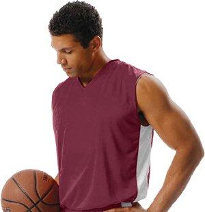 A4 Boy's Reversible Moisture Management Muscle Cardinal/White