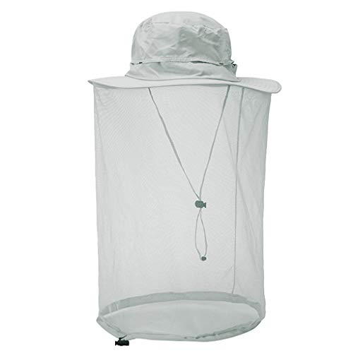 YEZIJIN Outdoor Mosquito Head Net Hat, Safari Sun Bucket Hat with Hidden Net Mesh Summer Best 2019 New Light Gray