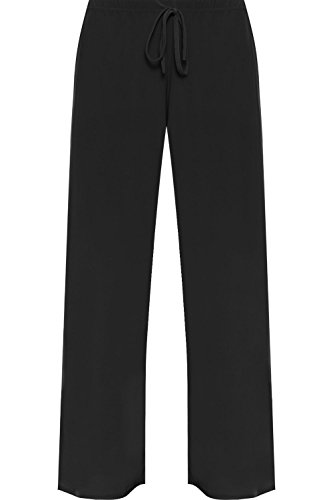 WearAll Women's Plus Size Palazzo Trousers Ladies Baggy Flared Wide Leg Pants - Black - US 18-20 (UK 22-24)