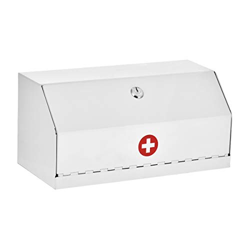 AdirMed Locking Drug Cabinet - Wall Mount Heavy Duty White Steel Prescription Medicine Safe & Medical Supply Storage w/Lock for Home, School & Office