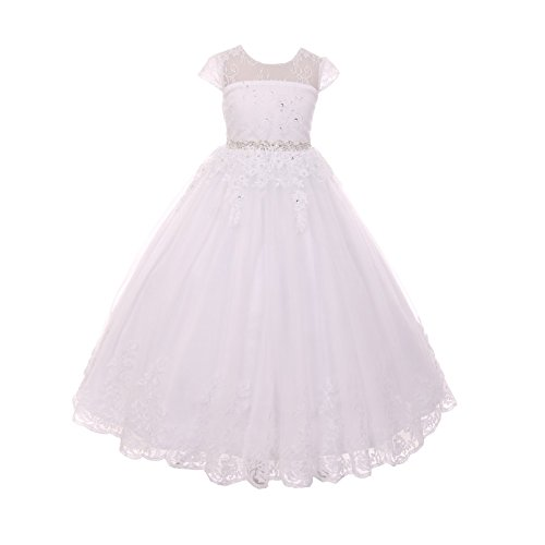 The Rain Kids Rain Kids Big Girls White Illusion Beaded Lace Tulle Communion Dress 7 by The Rain Kids