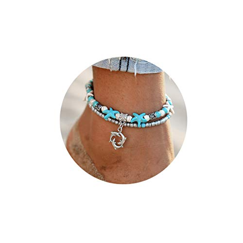 FINETOO Dolphin Blue Boho Starfish Beach Bracelet Anklet Beaded Anklet Shell Multi-Layer Anklets Jewelry Gifts for Girls ()
