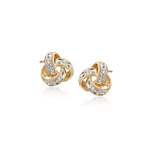 Ross-Simons Diamond-Accented Love Knot Stud Earrings in 14kt Yellow Gold