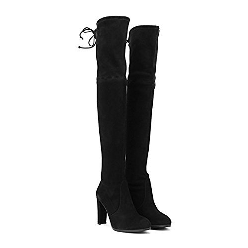 Miuincy Black Brown In Knee Botas Mujeres High Elastic Artificial Gamuza Con Muslo Black