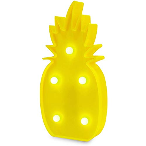 KiBlue Pineapple Lamp Pineapple Decorations Pineapple Decor Light Pineapple Party Decorations Battery Operated Yellow Pineapple Lamp Table Lamp Light for Party Supplies-Wall -