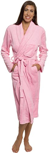 Silver Lilly Womens Plush Wrap Kimono Loungewear Robe (Pink, L/XL)
