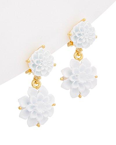 Kenneth Lane Resin Earrings - Kenneth Jay Lane White Flower Drop Earrings