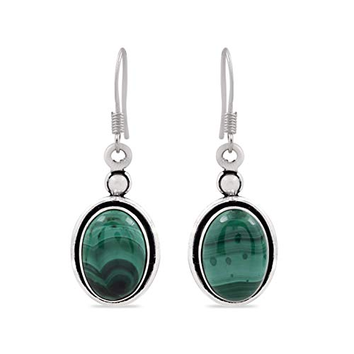 - 12.00ctw, Genuine Malachite & 925 Silver Plated Dangle Earrings