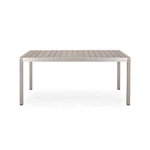 Hannah Outdoor Modern Aluminum Dining Table with Faux Wood Table Top, Natural and Silver