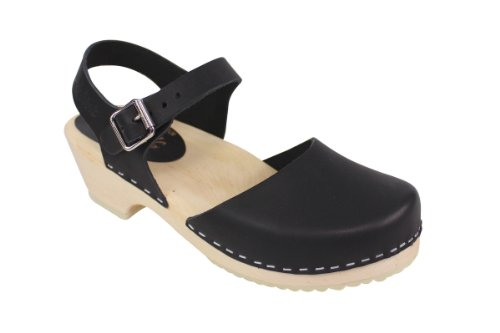 (Lotta From Stockholm Low Wood Low Heel Clogs in Black Leather US 9 EUR 40)