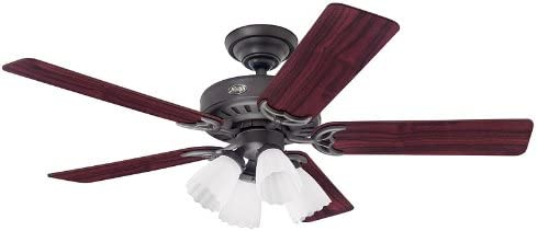 Hunter 25587 The Studio Series 52-Inch Five Cherry Walnut-Blades-Ceiling Fan, New Bronze