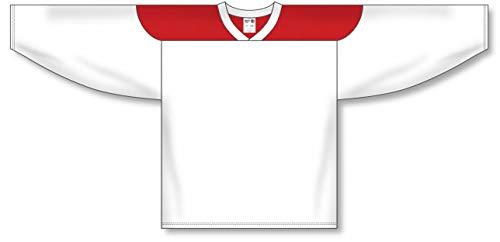(Customization Depot White, Red League Plain Blank Hockey Jerseys)