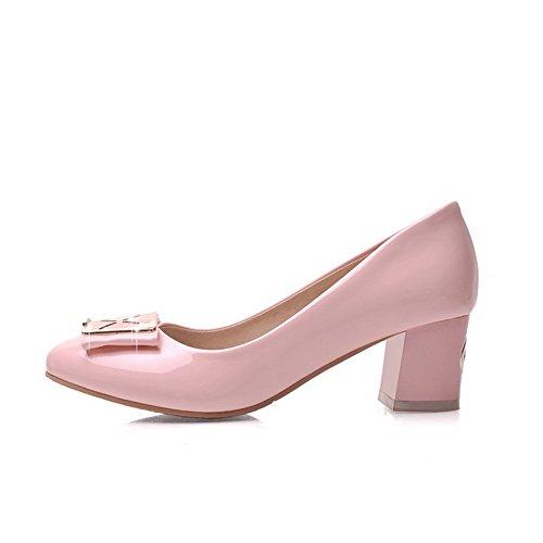 AllhqFashion Damen Rund Zehe Mittler Absatz Lackleder Rein Ziehen auf Pumps Schuhe Pink