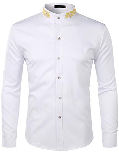 - ZEROYAA Mens Hipster Gold Embroidery Mandarin Collar Slim Fit Long Sleeve Casual Dress Shirts Z52 White XX-Large