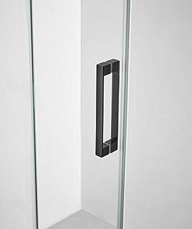 Mampara de Ducha - GME - Basic Black Frost Plus Frontal - 1 Hoja Fija + 1 Hoja Corredera (180-190 cm): Amazon.es: Bricolaje y herramientas
