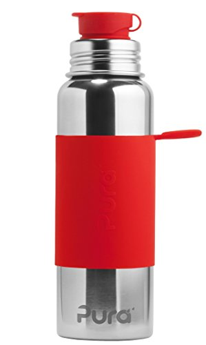 Pura Sport 28 OZ / 850 ml Stainless Steel Water Bottle with Silicone Sport Flip Cap & Sleeve, Red (Plastic Free, Nontoxic Certified, BPA Free)