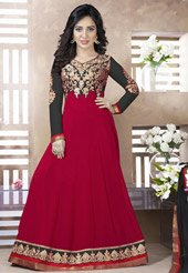 (Red and Blue Faux Georgette and Velvet Abaya Style Churidar)
